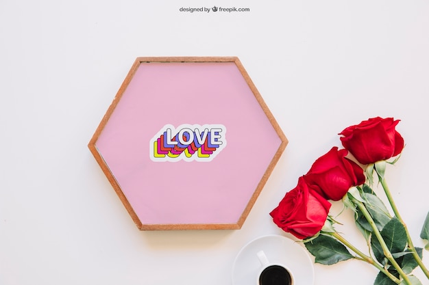 Valentine mockup with roses and frame