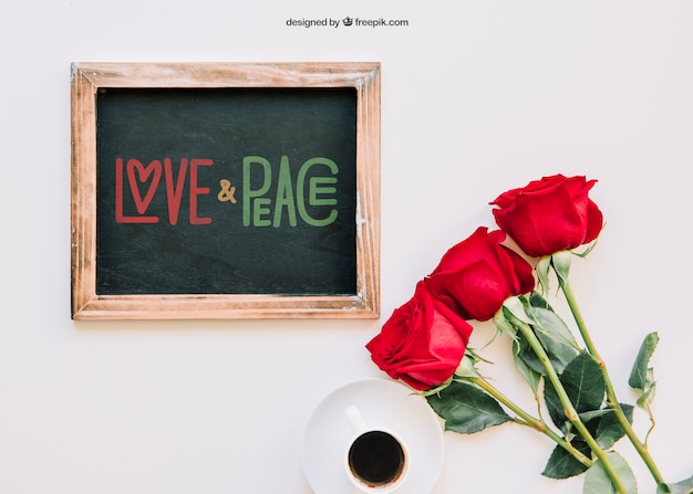 Valentine mockup with slate and roses