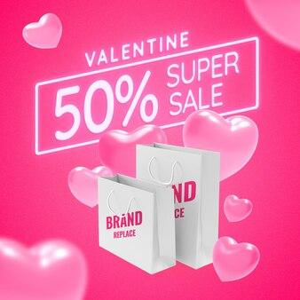 Valentine neon sign shopping bag mockup