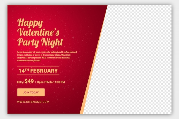 Valentine party web banner template
