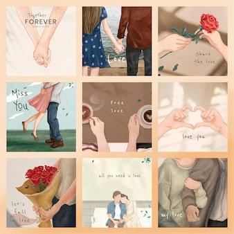 Valentine's day illustration templates psd for marketing social media post set
