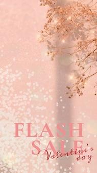 Valentine's flash sale template psd editable social media story