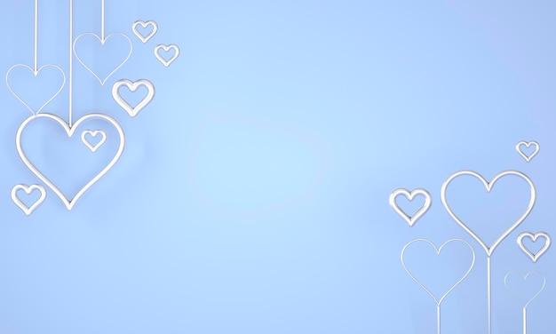 День святого валентина фон с сердечками. 3d-рендеринг.