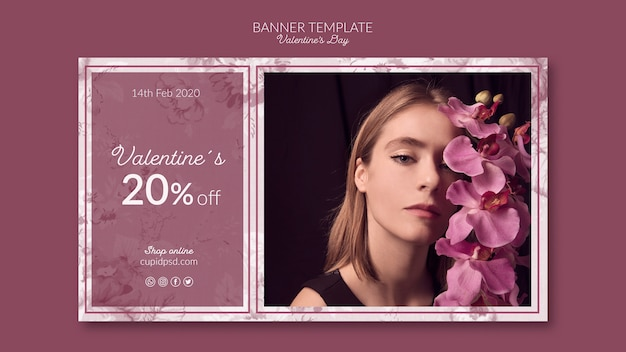 Valentine's day banner template mock-up