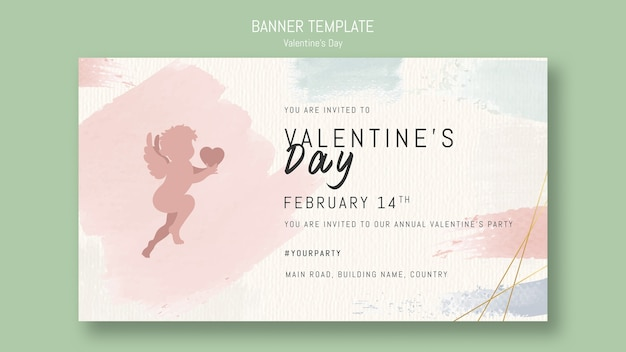 Valentine's day banner template with angel