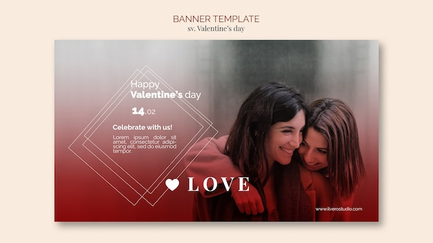 Valentine's day banner template with female couple