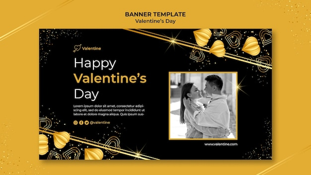 Valentine's day banner template with golden details