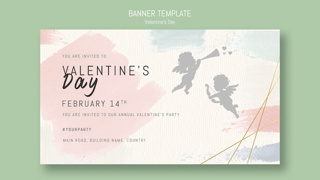 Valentine's day banner template with singing angel