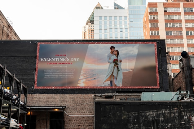 Valentine's day billboard with mock-up
