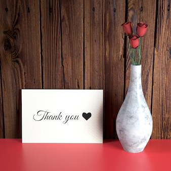 Valentine's day card mockup with vase