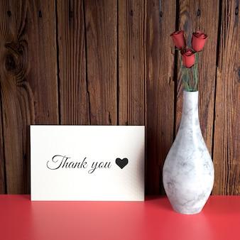 花瓶とバレンタインカードモックアップ