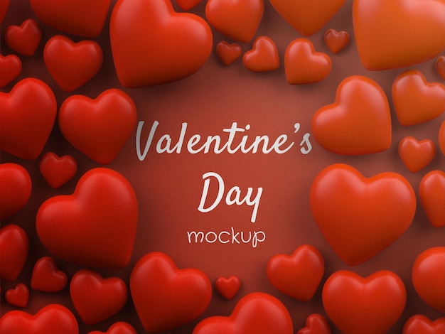 Valentine's day concept mockup with scattered hearts isolated