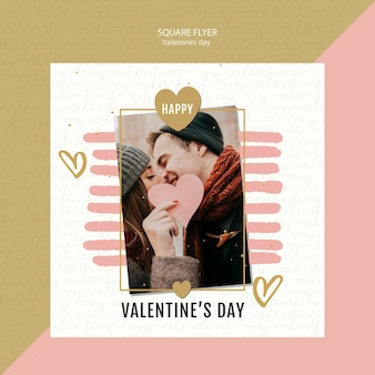 Valentine's day concept square flyer