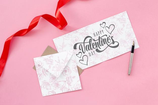 Concetto di san valentino con la lettera