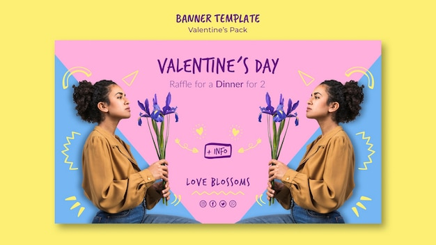 Valentine's day coupon banner template