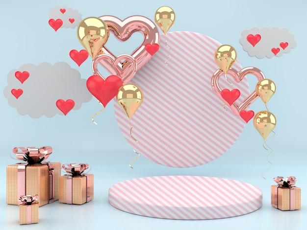 3d 렌더링에서 받침대와 하트 발렌타인 디자인