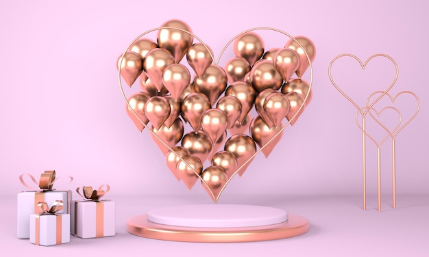 Valentine's day design with pedestal and hearts in 3d rendering