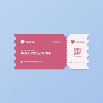 Valentine's day discount coupon mockup