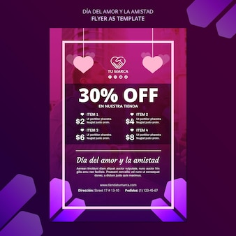 Valentine's day discount flyer stationery template
