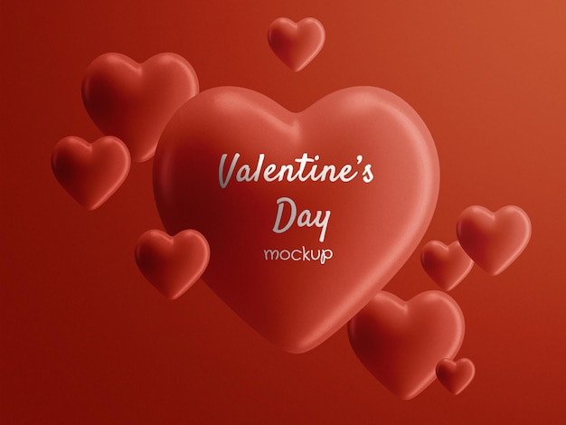 Valentine's day floating hearts mockup isolated