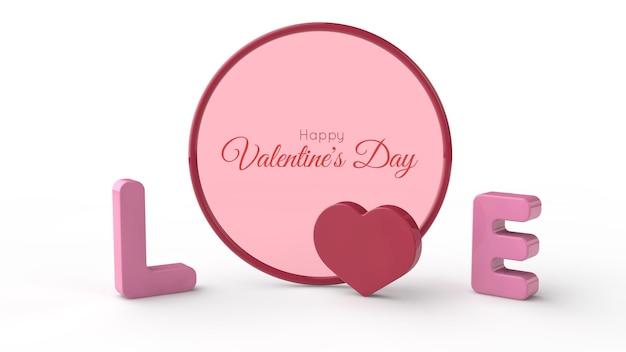 Valentine's day frame in 3d illustration