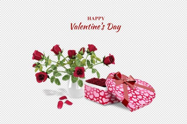 Подарок на день святого валентина и розы в 3d-рендеринге