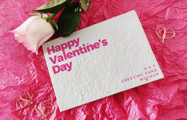 Valentine's day greeting card mockup