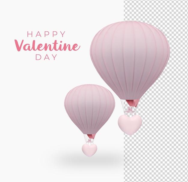 バレンタインデーハートバルーンデコレーションモックアップデザイン