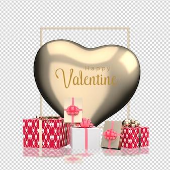 3dレンダリングでのバレンタインデーのハートの装飾