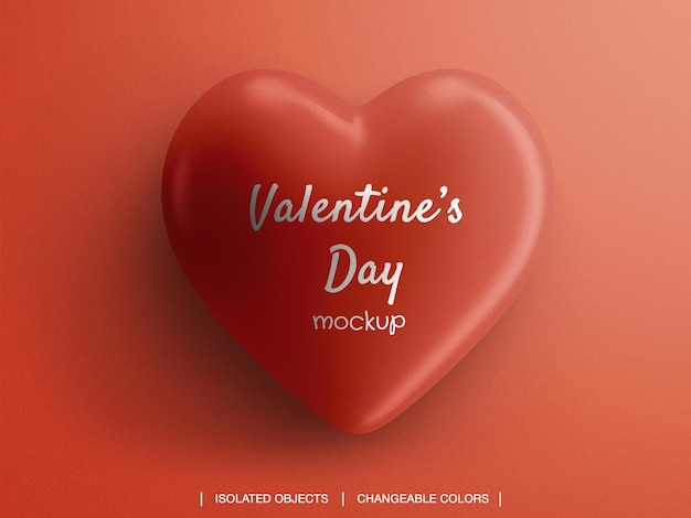Valentine's day heart mockup isolated