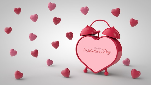 バレンタイン・デー 。ハート型の目覚まし時計と空飛ぶ赤いハート。テキストの場所。 3dイラスト Premium Psd