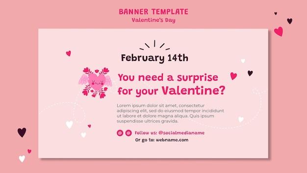 Banner orizzontale di san valentino illustrato