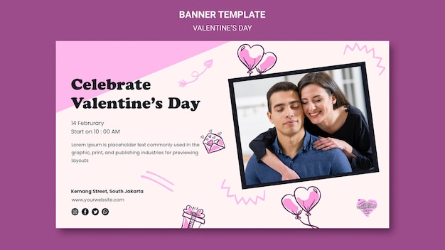 Valentine's day horizontal banner template