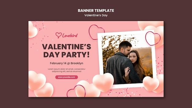 Valentine's day horizontal banner with photo