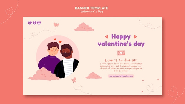 Valentine's day illustrated banner template