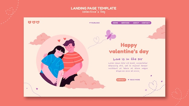 Pagina di destinazione illustrata di san valentino