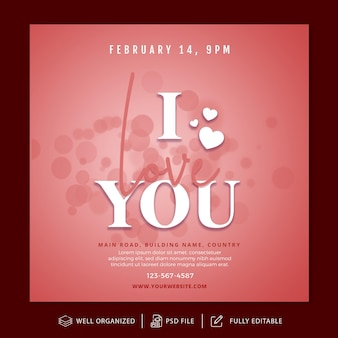 Valentine's day instagram post and banner template