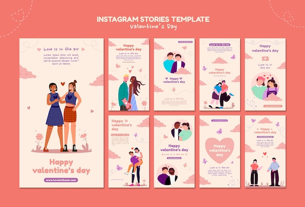 Storie di instagram di san valentino illustrate