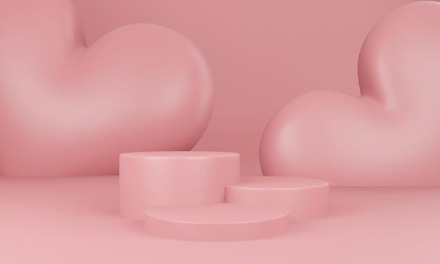 Valentine's day interior with pastel pink platform in 3d rendering