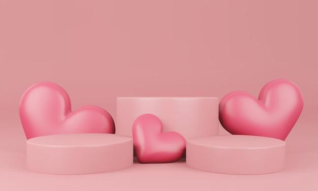 Valentine's day interior with pastel pink platform, hearts, stand, podium, pedestal for goods Premium Psd