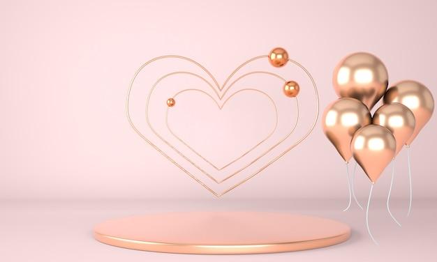Интерьер дня святого валентина с постаментом и сердечками в 3d-рендеринге
