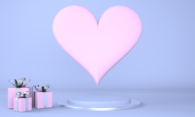 Интерьер ко дню святого валентина с постаментом и сердечками