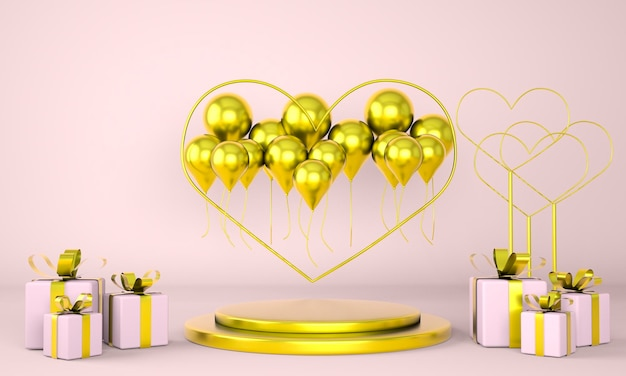 Valentine's day interior with pedestal and hearts in 3d rendering