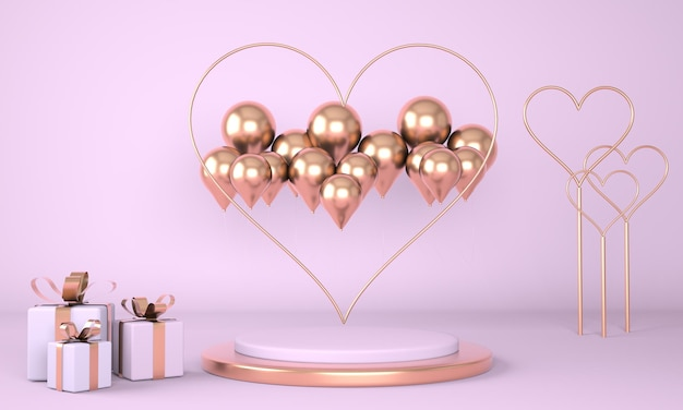 Valentine's day interior with pedestal and hearts