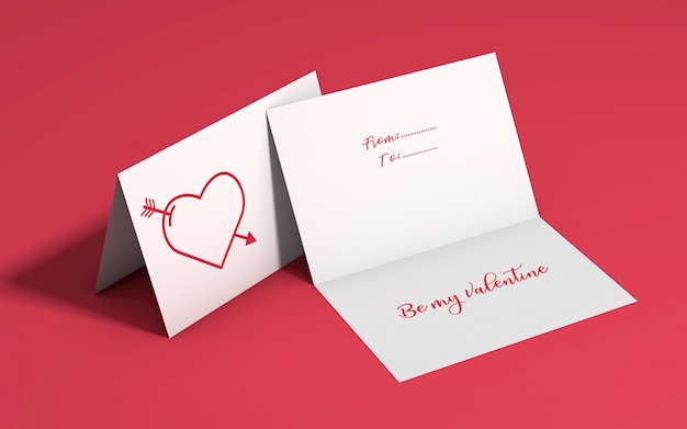 Valentine's day invitation mockup