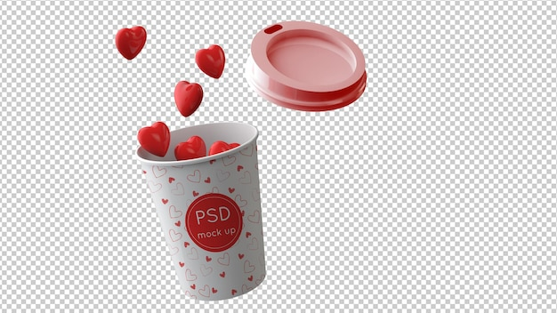 Valentine's day mockup of coffee cup in 3d illustration