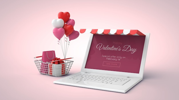 Valentine's day online shopping and sale mockup in 3d illustration
