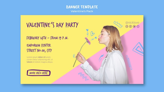 Valentine's day party banner template