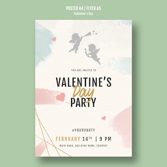 Valentine's day party poster with angels