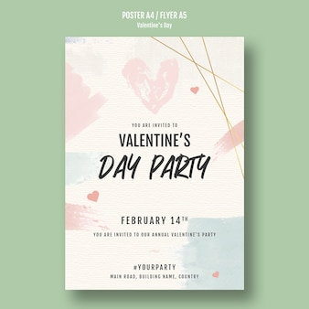 Valentine's day party poster with hearts